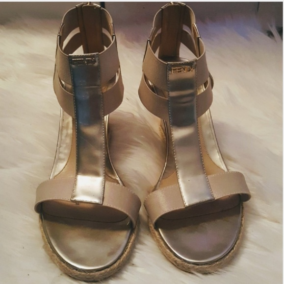 05f922beb060 Fendi Shoes - Fendi T Strap Nude Metallic Wedge Sandals